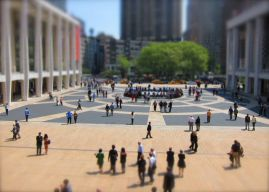 Playing with the miniaturization feature during a break at the NY Met