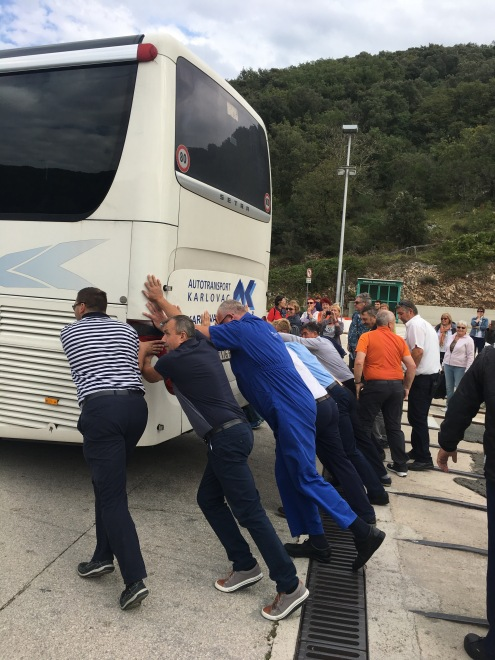 Traditional Croatian technique for powering bus off of ferry