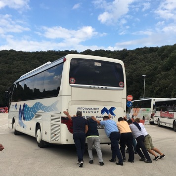 Traditional technique for powering bus off ferry
