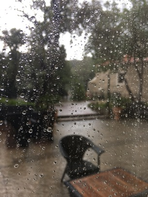 The courtyard at Hotel Arbiana is flooded