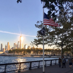 US flag on Hoboken waterfront at half mast for Las Vegas massacre