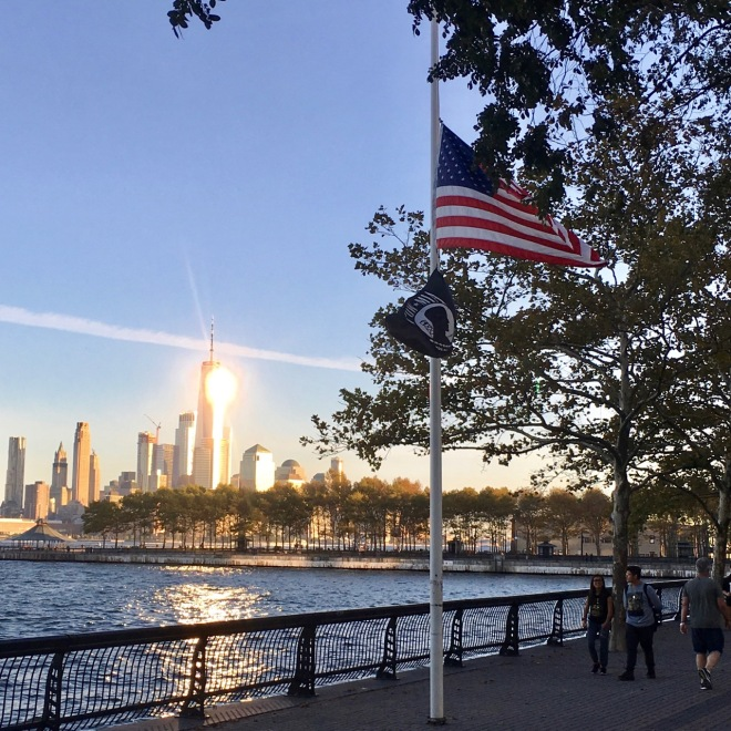 US flag on Hoboken waterfront at half mast for Las Vegas massacre